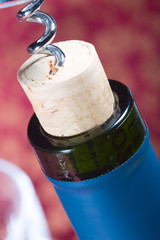 wine bottle cork almost out