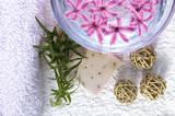 Fototapety spa items. towels, lavender soap, water, flowers..