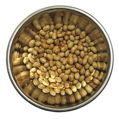 soya in the metal dish