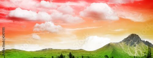 beautiful mountain in sunset - 2475115