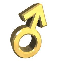 simbolo maschio marte in oro