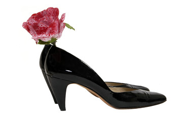 high heels and a speckled rose