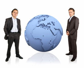 3d earth and businessman