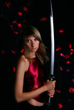 blonde with japanese sword poster