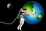 astronaut with laptop earth and moon black bg poster
