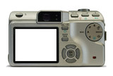 compact digital camera, empty display poster