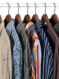 colorful clothes on a rack poster