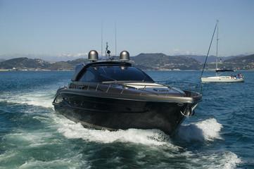 motor yacht and sailing yacht
