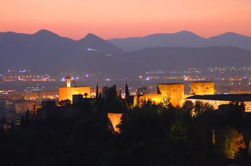 alhambra night sunset