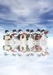 Detaily fotografie sněhuláků s hudebními nástroji
