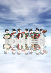snowmen with musical instruments