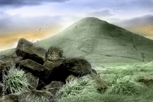 view of roseberry topping - stylised