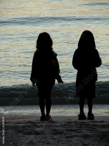 silhouetted children