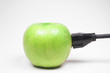 plugged in green apple