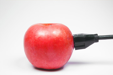 red apple plugged in