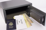 personal safe with passport, will and bonds poster