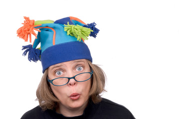 woman in funny hat