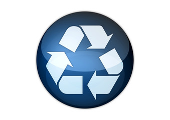recycling icon aqua button