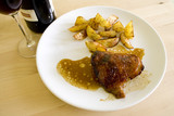 chicken on honey with wine poster