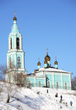 beautiful blue christian orthodox church in moscow poster