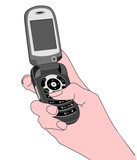 flip phone held by hand
