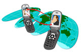 two mobile phones connecting on  flat globe poster