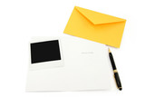 greeting card and yellow envelope poster