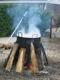 fish boil fire pit poster