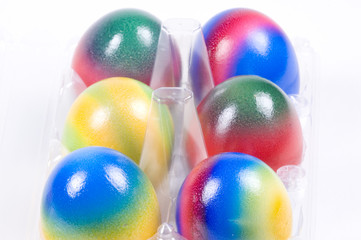 easter eggs in a rack