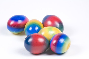 six brightly coloured easter eggs