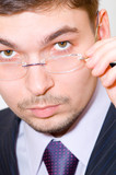 serious businessman with eyeglasses poster