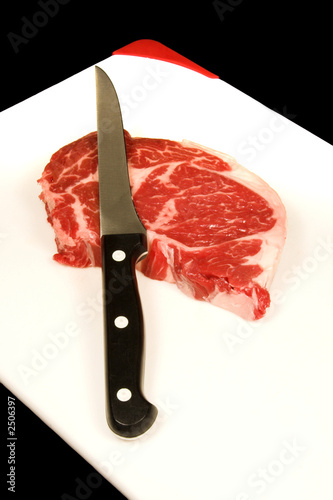 steak on chopping board