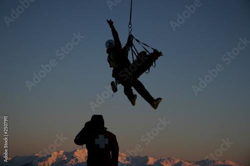 Leinwanddruck Bild helicopter hoist