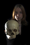 girl with skull poster