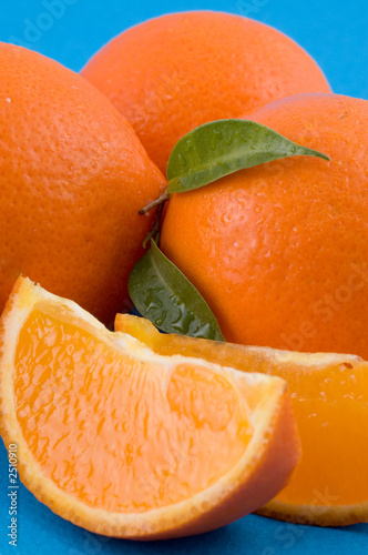 oranges over blue background