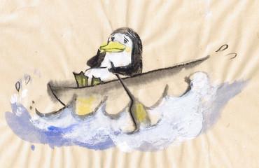 pinguino sulla barca