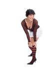 beauty brunette girl dress in knee higs on leg poster