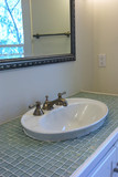 bowl sink with glass tile poster