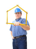 civil engineer with folding rule poster