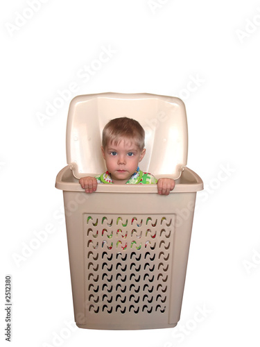 boy in box display with clipping path
