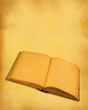 open blank book against stained dirty paper poster