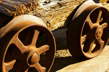 wheels of the old mine cart