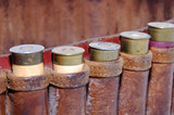 shotgun shells in a belt - macro