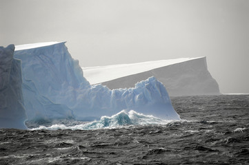 icebergs in rough waters