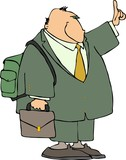 businessman with a backpack poster