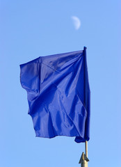 blue flag and sky and moon