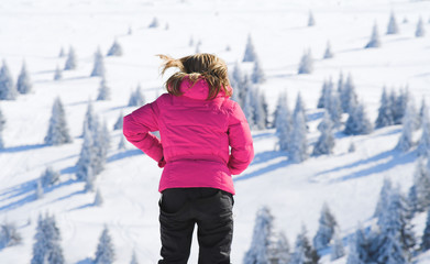 girl and mountain landscape