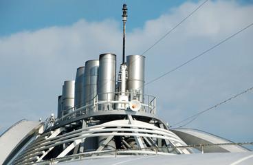 smoke stacks on ocean liner