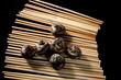 water chestnuts on chopsticks