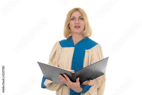 female singer in church choir landscape